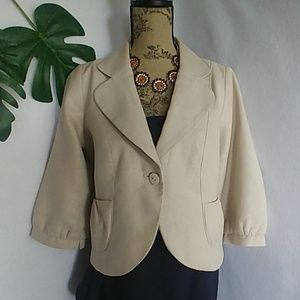LOFT Cropped Gold Metallic Jacket Blazer